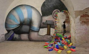 Oeuvre de Seth. Musée des arts urbains et du street art (Mausa) dans la citadelle Vauban à Neuf-Brisach, inscrite au patrimoine mondial de l'Unesco