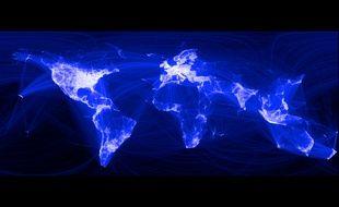 Une carte du monde des connexions Facebook