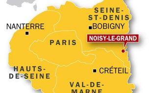 Carte de localisation de Noisy-le-Grand, où deux enfants sont morts dans l'incendie d'un appartement le 7 mai 2010.
