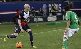 Christophe Jallet, le 16 mars 2014 au Parc des Princes face à Saint-Etienne.