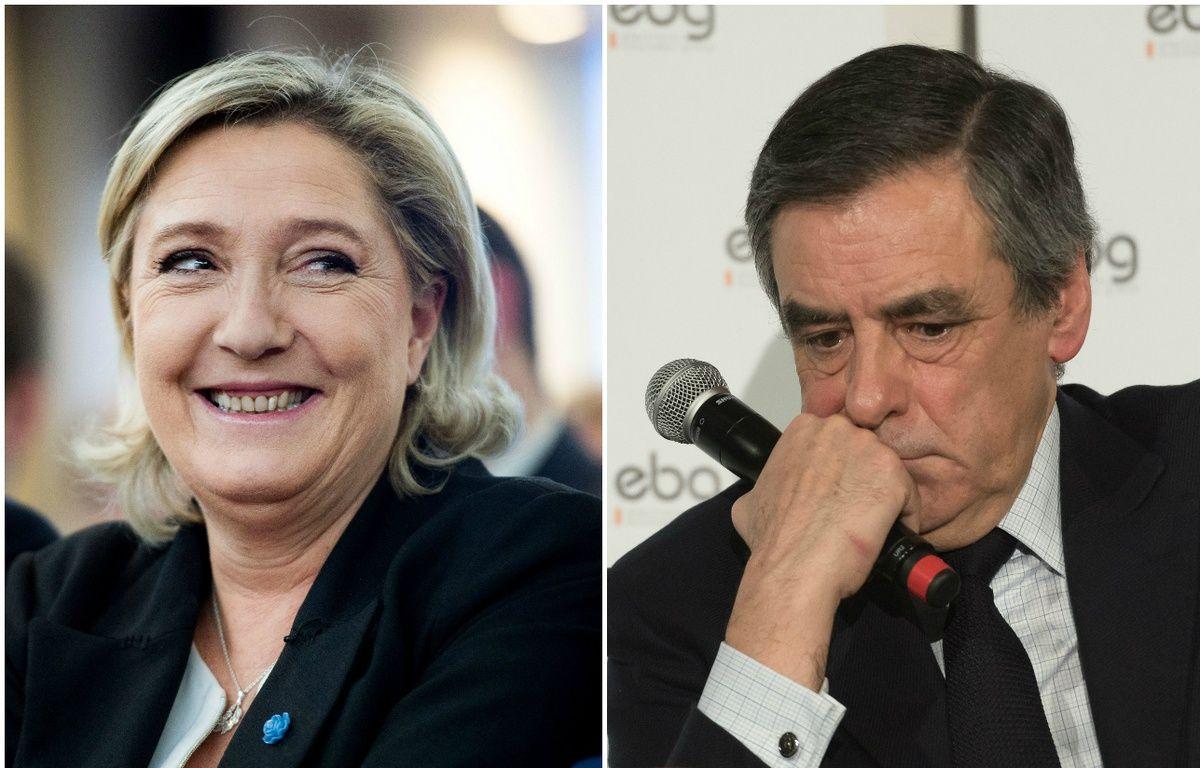 Marine Le Pen à Paris, le 5 janvier 2017. François Fillon, lors d'un débat organisé par EBG (Electronic Business Group), le 31 janvier 2017, à Paris. – CHAMUSSY/SIPA // Witt/SIPA