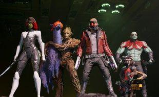Voici les Gardiens de la Galaxie en jeu vidéo, ave cun lama violet donc (normal)