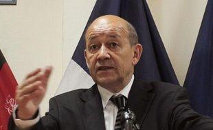 Le ministre de la Défense français Jean-Yves Le Drian lors d'une conférence de presse à Kaboul en Afghanistan, le 18 juillet 2012.