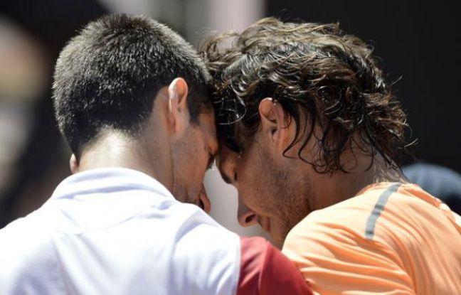 Novak Djokovic et Rafa Nadal au Tournoi de Rome Après la victoire de Rafa le 31 mai 2012.
