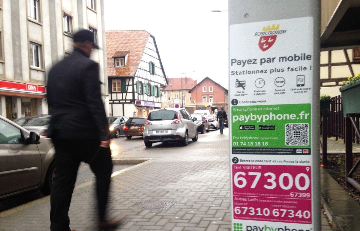 Schiltigheim, le 4 février 2016. - La ville de Schiltigheim s'est dotée de l'application de PayByPhone pour payer son parcmètre avec son téléphone. – Floreal Hernandez