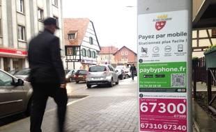 Schiltigheim, le 4 février 2016. - La ville de Schiltigheim s'est dotée de l'application de PayByPhone pour payer son parcmètre avec son téléphone.