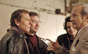 Sur le tournage du court métrage Climax avec le comédien Patrick Chesnais (à droite).