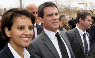 Manuel Valls et Najat Vallaud-Belkacem à Saint-Priest (Rhône) le 21 mars 2014