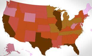 La carte des nouveaux cas de coronavirus aux Etats-Unis (plus c'est foncé, plus c'est élevé) le 23 octobre 2020.