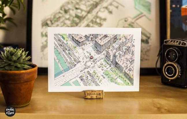 Cartes postales, affiches, posters... Emilie Ettori croque les différentes quartiers de Lyon vus du ciel.