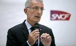 Le président de la SNCF, Guillaume Pépy, lors d'une conférence de presse, le 7 juillet 2014 à Paris