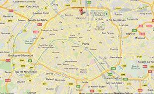Google Maps du 18e arrondissement de Paris.