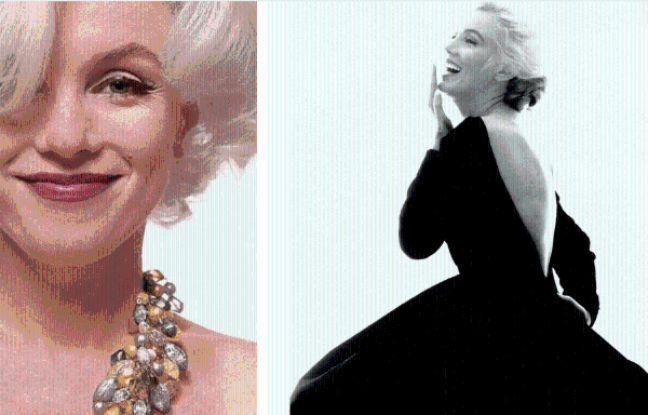 Deux clichés de Marilyn Monroe: en couleurs ou en noir et blanc, toujours resplendissante