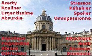 Le tableau des huitièmes de finale de la Coupe de France des mots absents du dico, organisée par 20 Minutes (avec la coupole de l'Académie française dans le fond...)