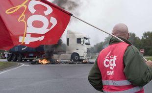 Des routiers, principalement CGT et FO, avaient entamé un mouvement reconductible contre la réforme du Code du travail, le lundi 25 septembre 2017.