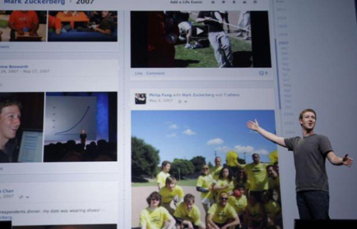 Mark Zuckerberg, le patron de Facebook, présente sa Timeline à San Francisco, en septembre 2011. – Paul Sakuma/AP/SIPA
