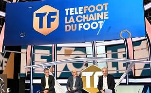 Julien Bergeaud, Jaume Roures et Jean-Michel Roussier annoncent le lancement de la chaîne Téléfoot, le 18 août 2020.