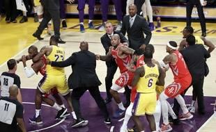 Une bagarre générale a eu lieu en fin de match lors de la rencontre entre les Los Angles Lakers et les Houston Rockets, le 21 octobre 2018.