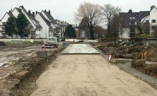 Le chantier de l'extension du tram E à la Robertsau.