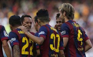 Le Barça fête un but de Ratikic, le 27 septembre 2014 au Camp Nou.
