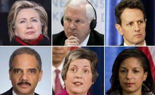 Dans l'ordre: Hillary Clinton, Robert Gates, Timothy Geithner, Eric Holder, Janet Napolitano et Susan Rice.