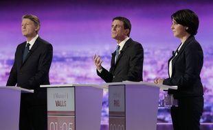 Vincent Peillon, Manuel Valls et Sylvia Pinel lors du premier débat de la primaire de la gauche, le 12 janvier
