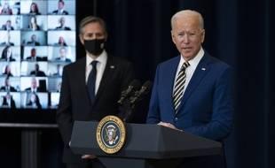 Le président américain Joe Biden avec le secrétaire d'Etat Antony Blinken le 4 février 2021.