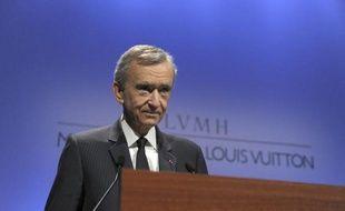 Le patron de LVMH, Bernard Arnault, lors de la présentation des résultats 2014, le 3 février 2015 au siège du groupe à Paris