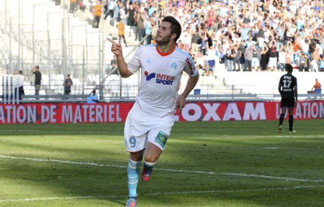 Marseille le 2 septembre 2012 - 4 éme journée du championnat de France de ligue 1 de football . Match opposant l' OM à Rennes au stade vélodrome . BUT DE GIGNAC