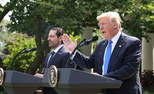 Donald Trump et le Premier ministre libanais Saad Hariri dans les jardins de la Maison Blanche, le 25 juillet 2017.