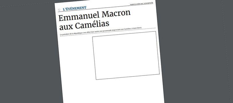 Dans son édition du 25 octobre 2019, «Le Journal de l'île de la Réunion» a publié une page blanche, faute d'avoir été invité à couvrir une visite d'Emmanuel Macron dans un quartier de Saint-Denis.