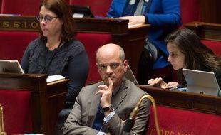 Jean-Michel Blanquer pendant le débat sur l'école de la confiance à l'Assemblee Nationale, le 12 février 2019. Credit:Jacques Witt/SIPA.