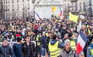 Photo d'illustration d'un rassemblement des «gilets jaunes» dans le centre-ville de Lyon, ici le 9 février pour l'acte 13.