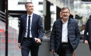 L'ancien président du Stade Rennais Olivier Létang (à gauche) et Jacques Delanoë, ici au Roazhon Park en 2017.