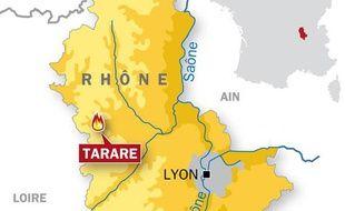 Carte localisation de Tarare, dans le Rhône.