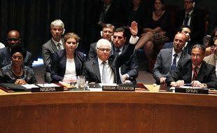 L'ambassadeur russe aux Nations unies signifie son véto à une résolution proposant la création d'un tribunal spécial pour juger les responsables du crash du vol MH17, le 29 juillet 2015.