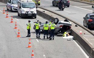 Un accident sur le périphérique parisien, le 4 août 2012.
