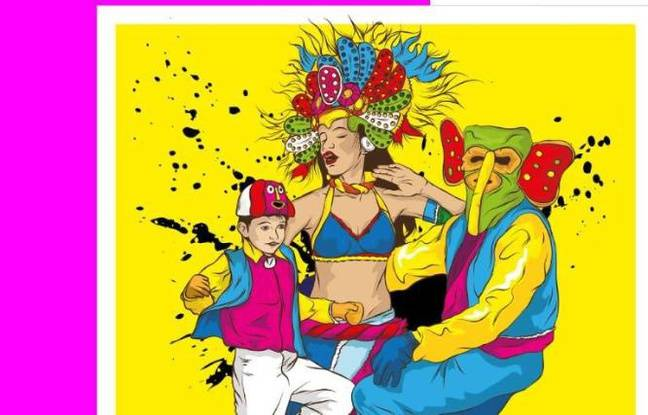Dessin coloré de trois personnes dansant sur des rythmes cumbia