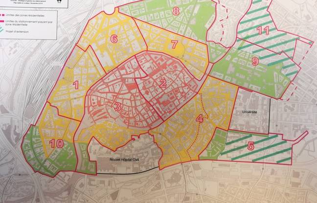 Le plan de stationnement de Strasbourg, entre zones rouge, jaune (limitées à deux heures) et verte (limitée à trois heures).