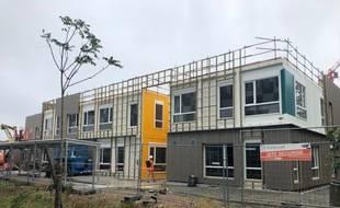 L'école Joséphine Baker, encore en chantier,sur l'île de Nantes