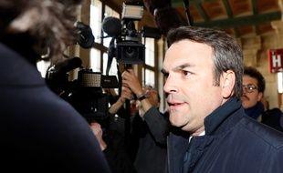 Thomas Thevenoud lors de son procès pour fraude fiscale, le 19 avril 2017 à la Cour de justice de Paris.