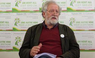 La tête de liste écologiste aux régionales en Bretagne René Louail, ici le 8 décembre 2015 à Rennes.