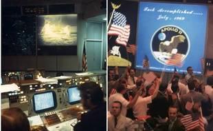 A gauche, photo prise le 20 juillet 1969 de la salle de contrôle de la mission Apollo 11, au centre spatial de Houston. Sur l'écran, les astronautes Neil A. Armstrong et Edwin E. Aldrin sur la surface lunaire. A droite, le 24 juillet 1969, des employés de la base célèbrent le succès de la mission.