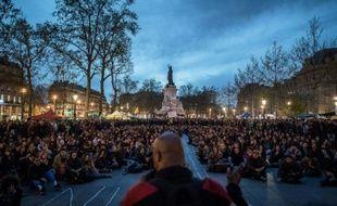 Rassemblement du mouvement Nuit Debout, place de la République à Paris le 20 avril 2016
