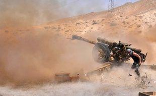 L'armée syrienne sur la cité antique de Palmyre, le 17 mai 2015.