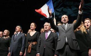 Jean-François Copé avec François Fillon et Jean-Pierre Raffarin en soutien de Fabienne Keller