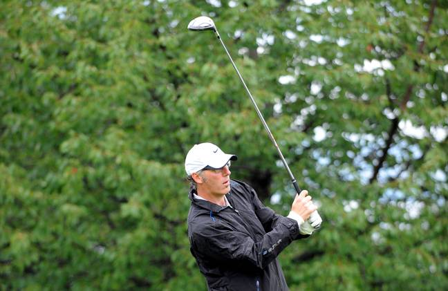 Laurent Blanc joue au golf en 2011 à Evian