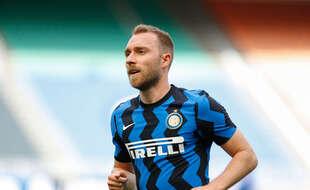 Christian Eriksen sous le maillot de l'Inter Milan face à l'Udinese en Serie A, le 23 mai 2021 à San Siro.