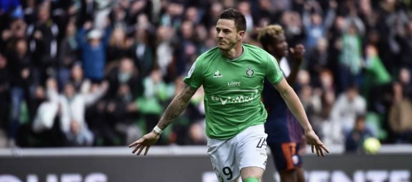 Nolan Roux  le 24 avril 2016 sous les couleurs de Saint-Etienne.