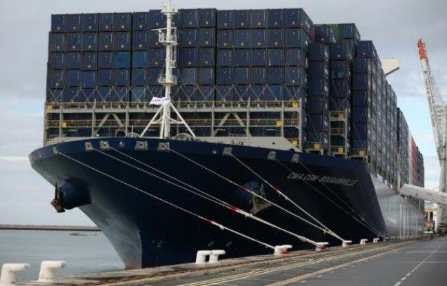 Le havre inauguration du bougainville le plus grand - Le plus gros porte conteneur du monde ...